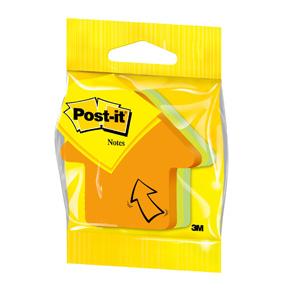"Post-it Klistrelapper 70x70 kubeblokk ""pil"" neon"