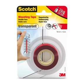 Scotch Dobbelsidig Monteringsteip Transparent 19mmx1,5m