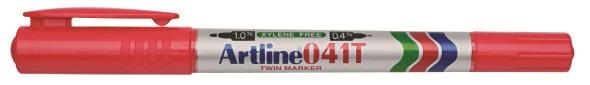 Artline 041T Merkepenn 2-i-1 rød