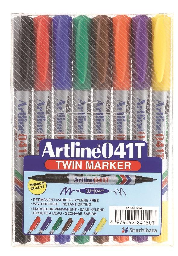 Artline 041T Permanent merkepenn Twin Marker sett m/8 stk