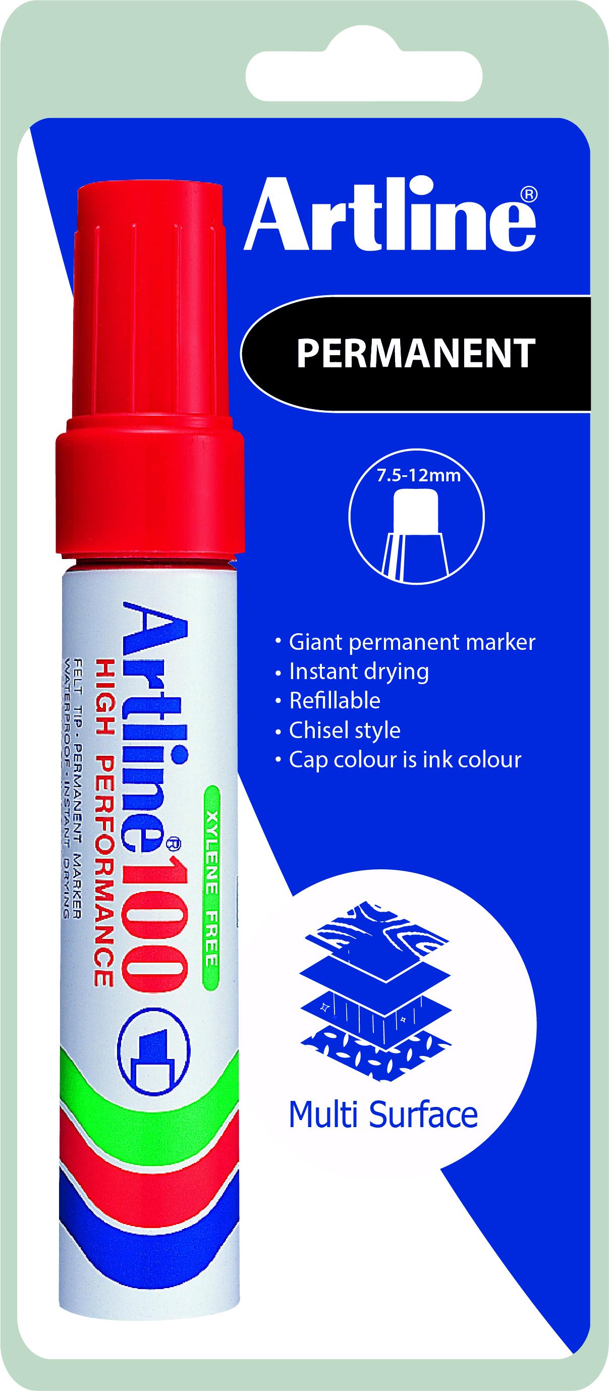 Artline 100 Permanent Merkepenn Blister rød