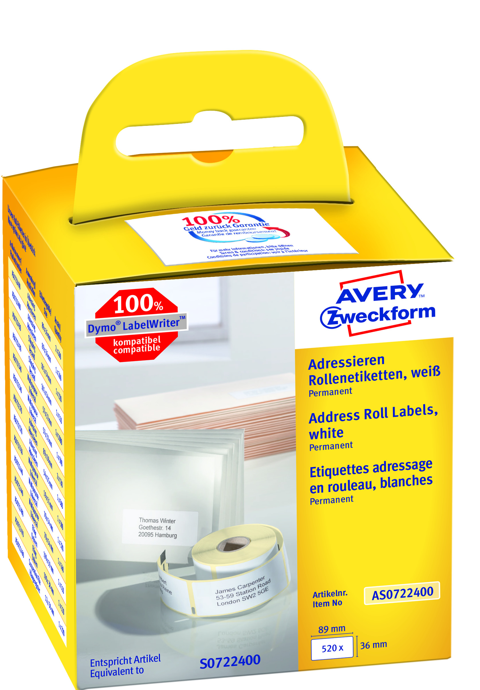 AVERY Adresseetikett til etikettskriver 89x36mm (2x260)