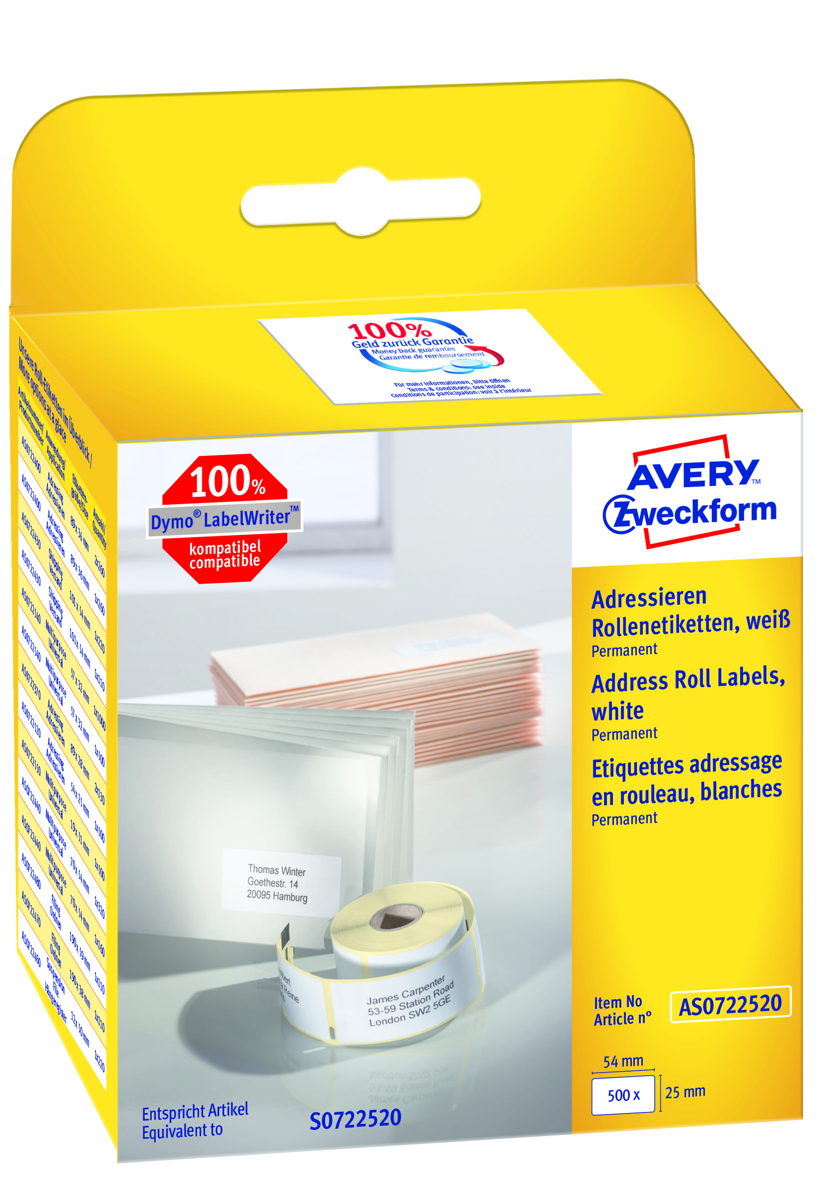 AVERY Adresseetiketter til etikettskriver 54x25mm (500)