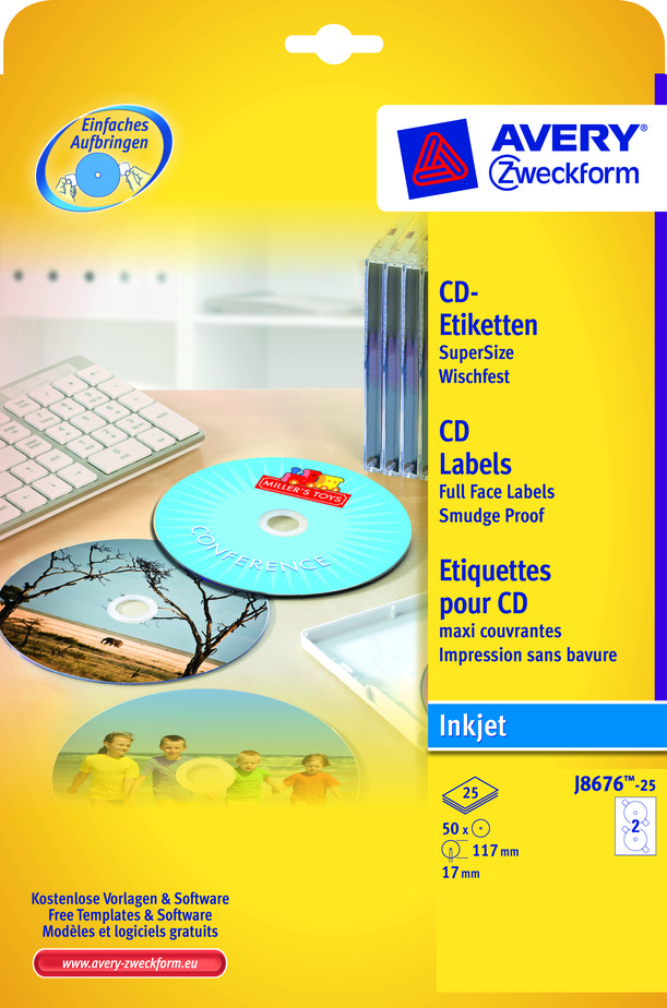 Avery J8676-25 CD labels white matt Ø117 (50)