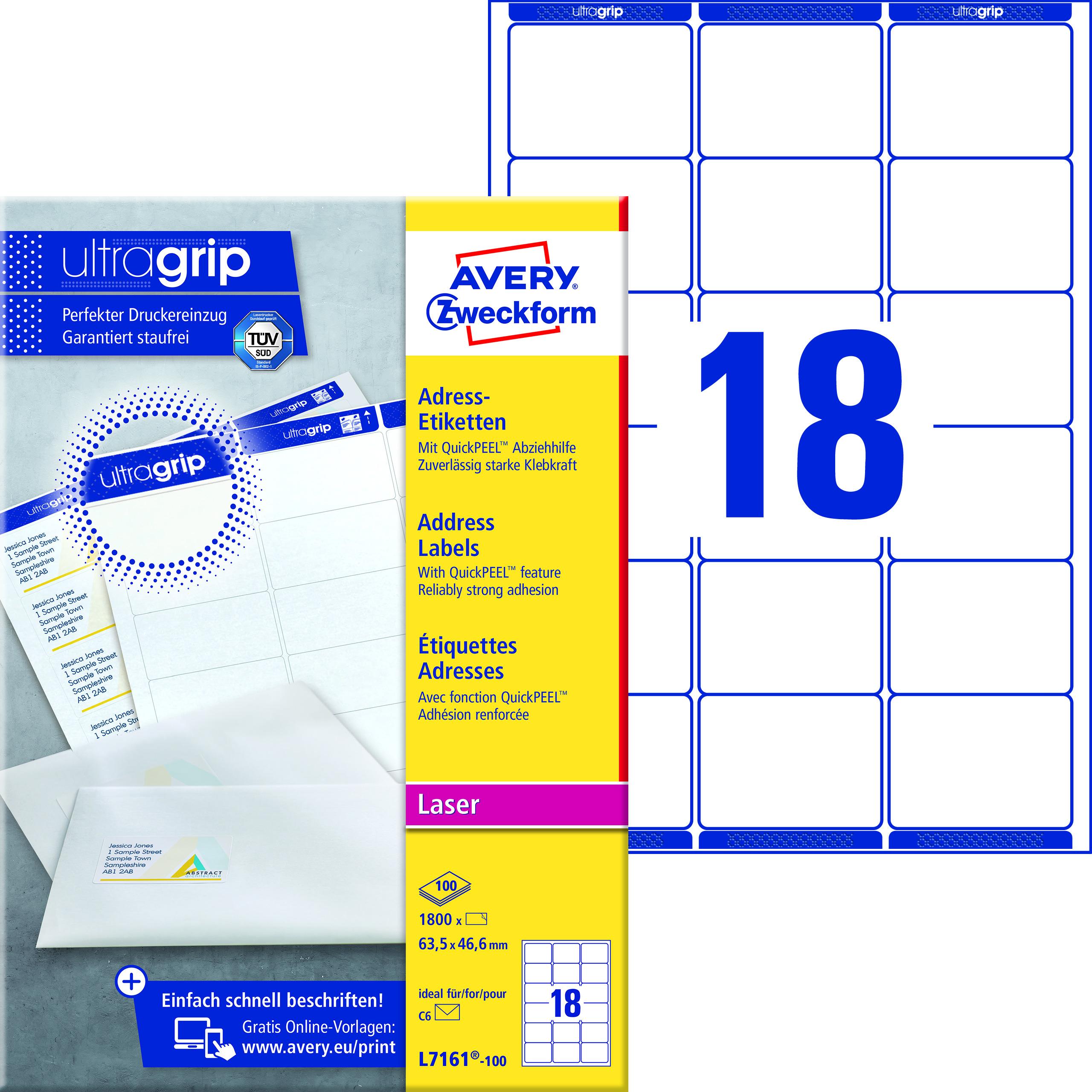Avery L7161-100 Adresseetiketter 63,5x46,6 QP+UG (1800)
