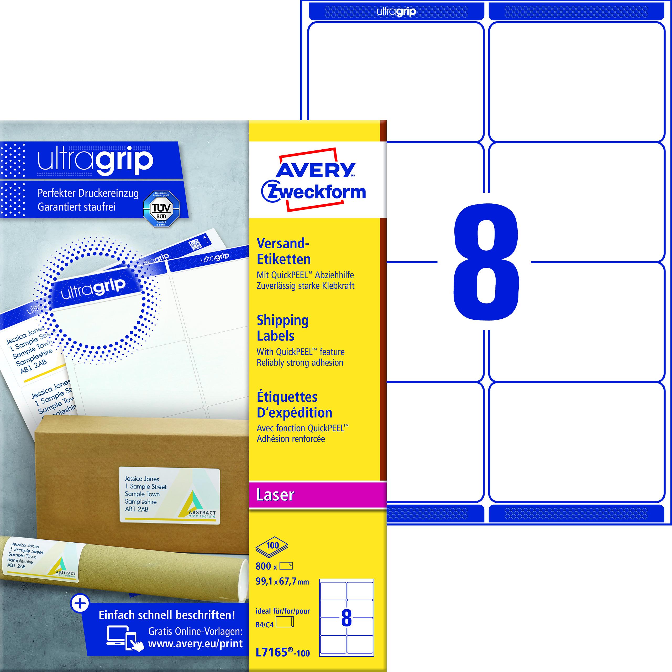 Avery L7165-100 Fraktetiketter 99,1x67,7 QP+UG (800)