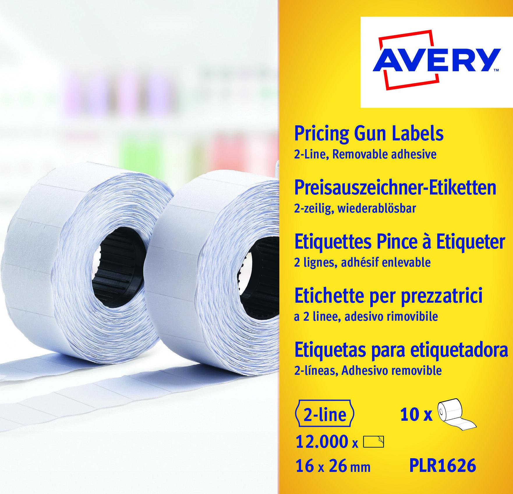 Etiketter til prismerker 26x16 G1 hvit 10 ruller
