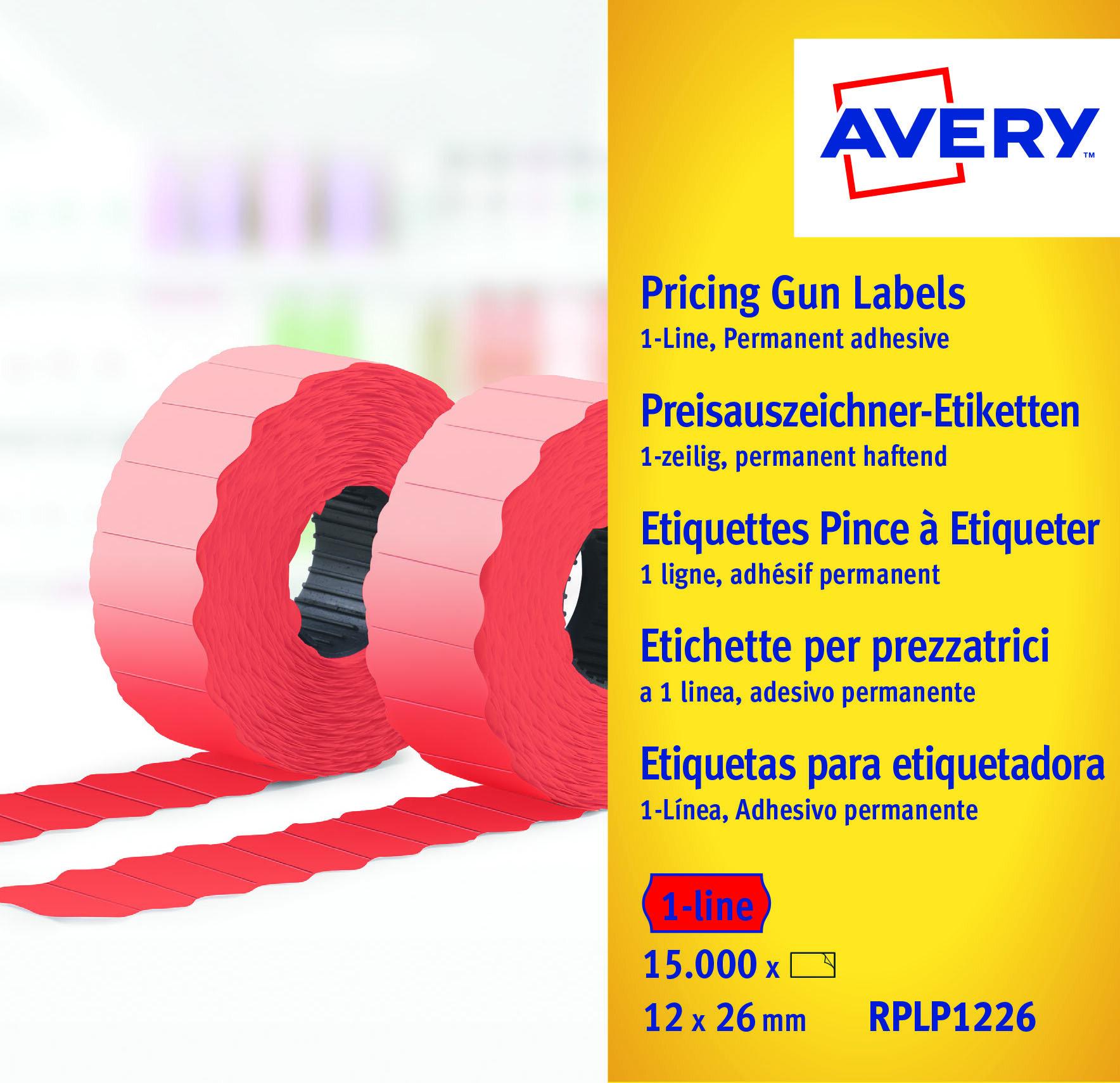 Etiketter til prismerker 26x12 G2 fl.röd 10 ruller