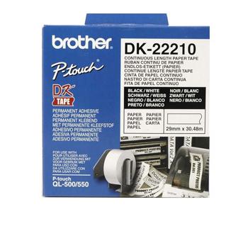 Brother Etiketter 29mmx30,48m hvitt papir