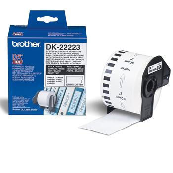Brother Etiketter 50mmx30,48m Hvitt papir