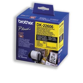 Brother Etiketter 62mmx15,24m gul film