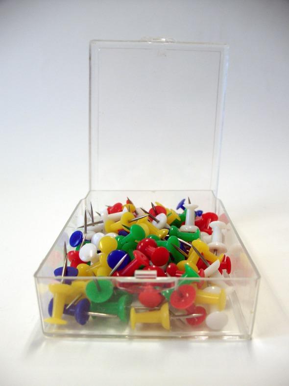 Büngers Kartnåler Push-Pin 100/pr. eske assorterte farger