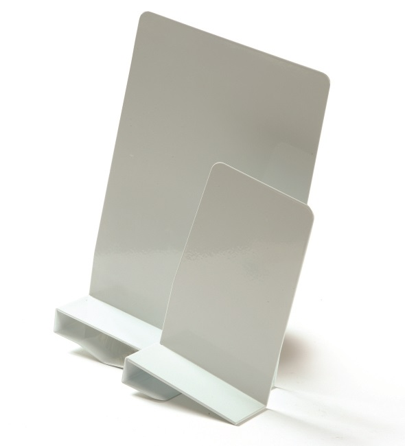 Büngers Bokstøtte Venstre Klemme 20cm metall  hvit