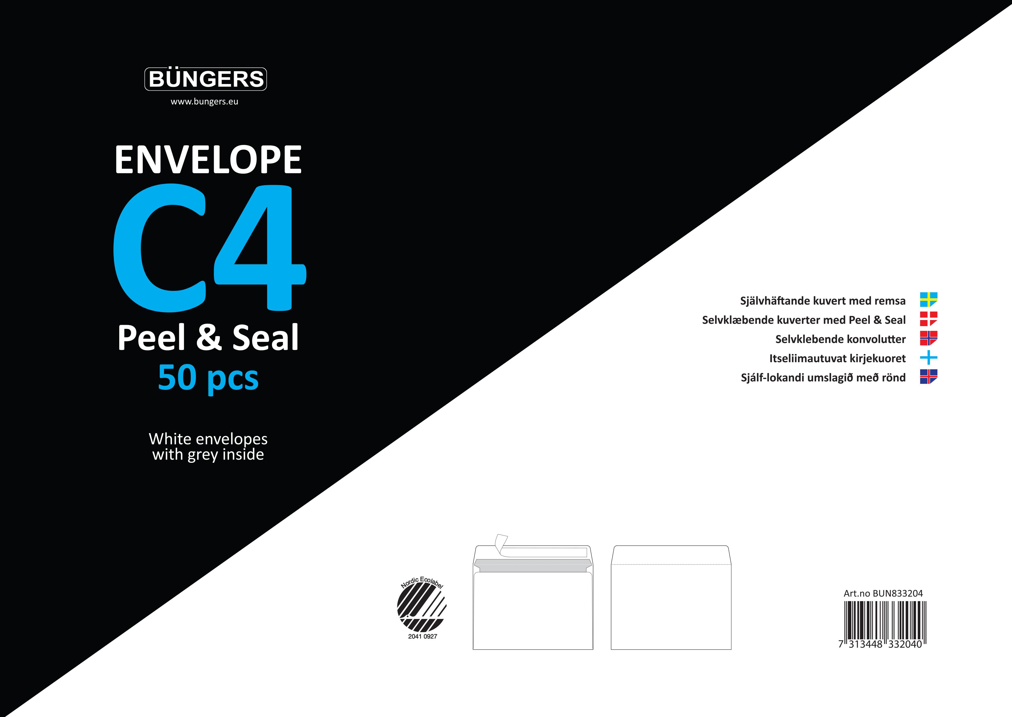 Büngers Konvolutt Consumerpack C4 P&S hvit (50/forpakning)