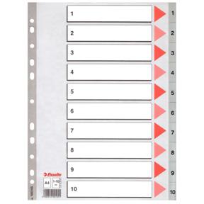 Esselte Register PP A4 1-10 grå