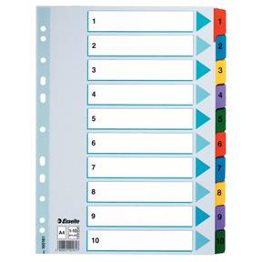 Esselte Register Mylar A4 1-10 flerfarg