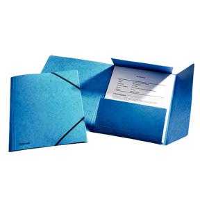 Esselte Strikkmappe m/3 klaffer Kartong A4 blå