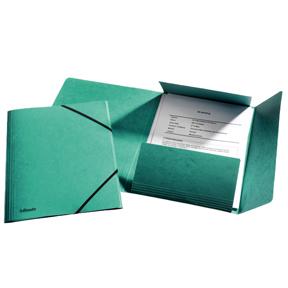 Esselte Strikkmappe m/3 klaffer Kartong A4 grønnn