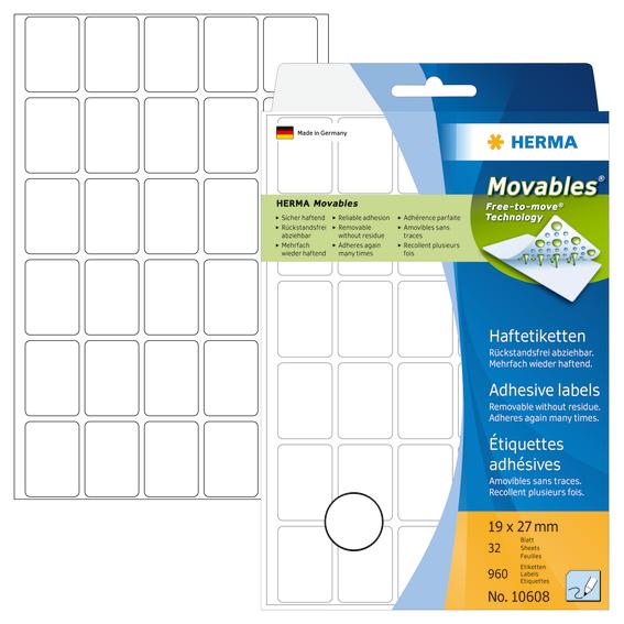 Herma Etiketter Movables 19x27mm hvit