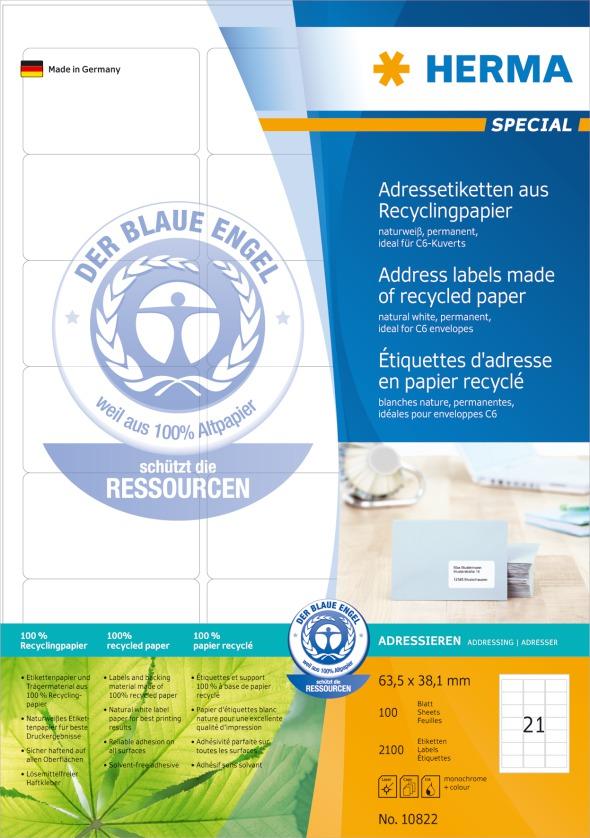 Herma Etiketter Resirkulert A4 63,5x38,1mm (100)
