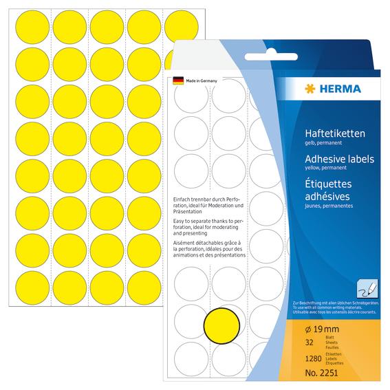 Herma Etikett 19mm gul