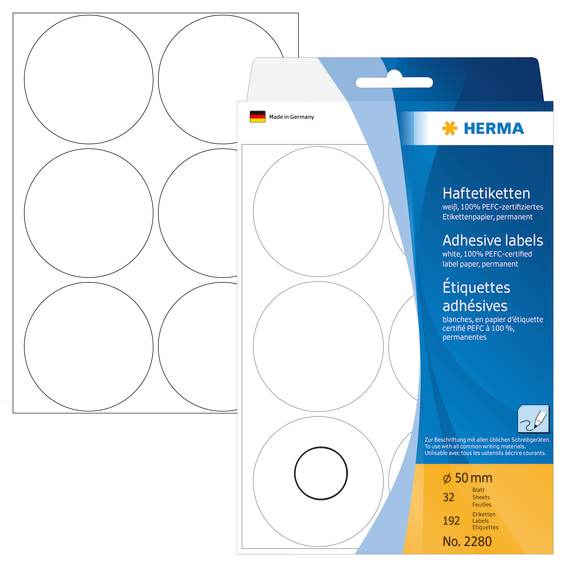 Herma Etikett 50mm hvit