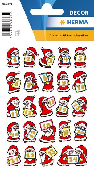 Herma Klistremerker Decor Adventskalender 1-24 julenisser