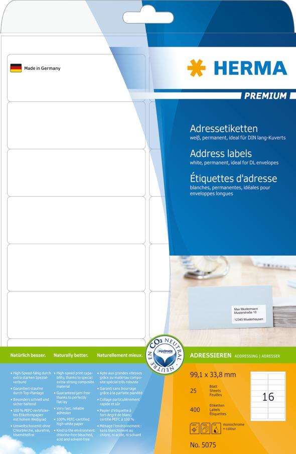 Herma Adresseetiketter Premium A4 99,1x33,8 (25)