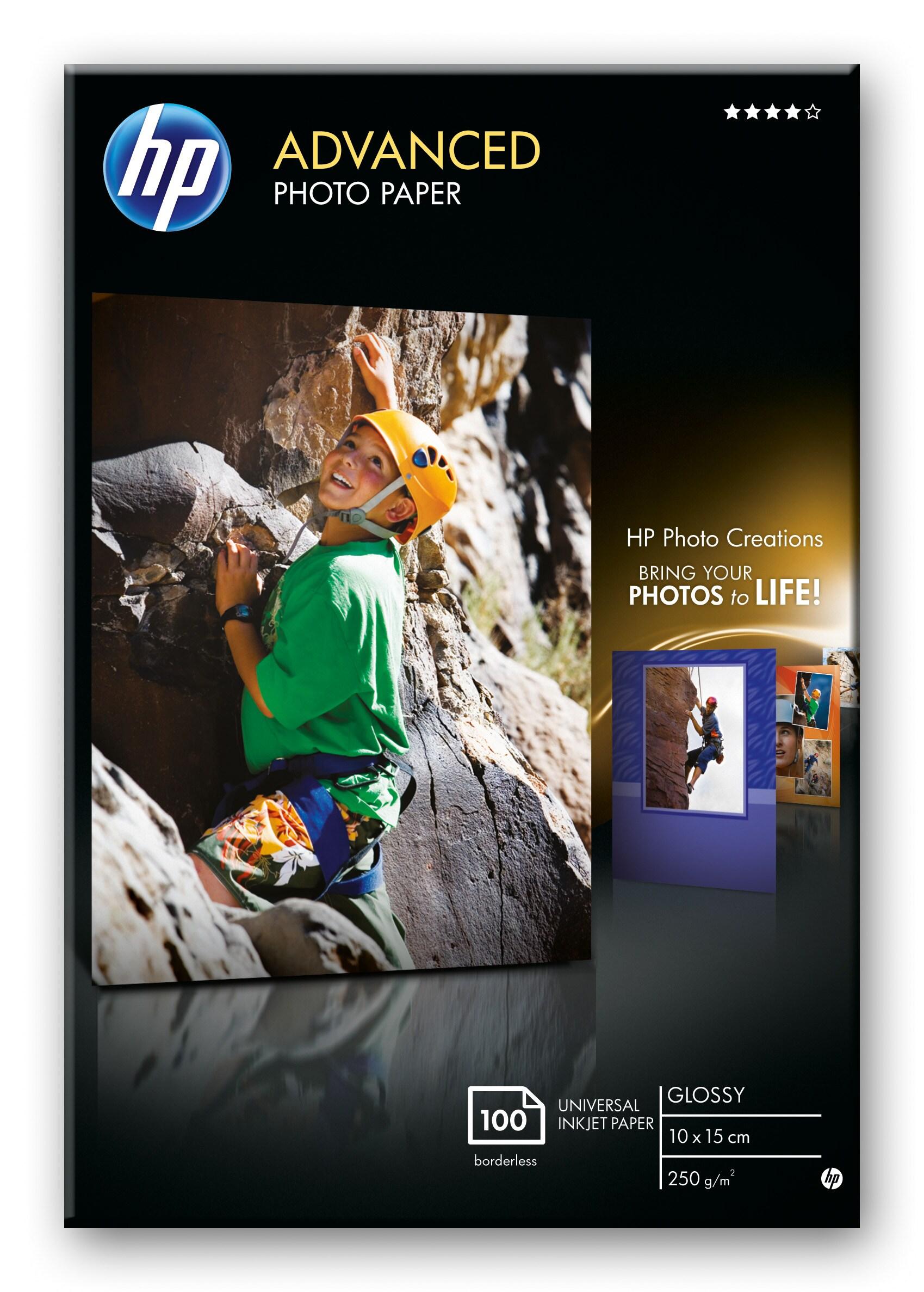 10x15 Hp Fotopapir Advanced Glossy 250g kantløs (100)
