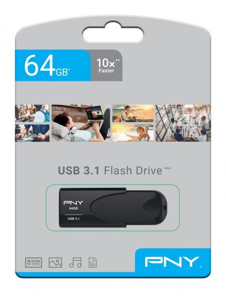 PNY USB 3.1 Attache 4 64GB Minnepenn Sort