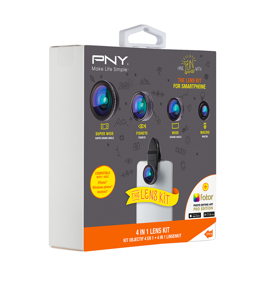 PNY 4-IN-1 Objektiv sett til Smarttelefoner Sort