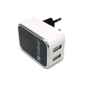 AC Charger Dual USB 2A EU, White/Black