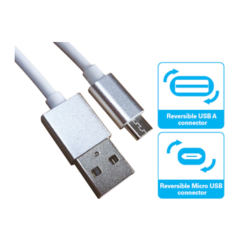 MicroUSB Cable Reversible, White/Silver (1m)
