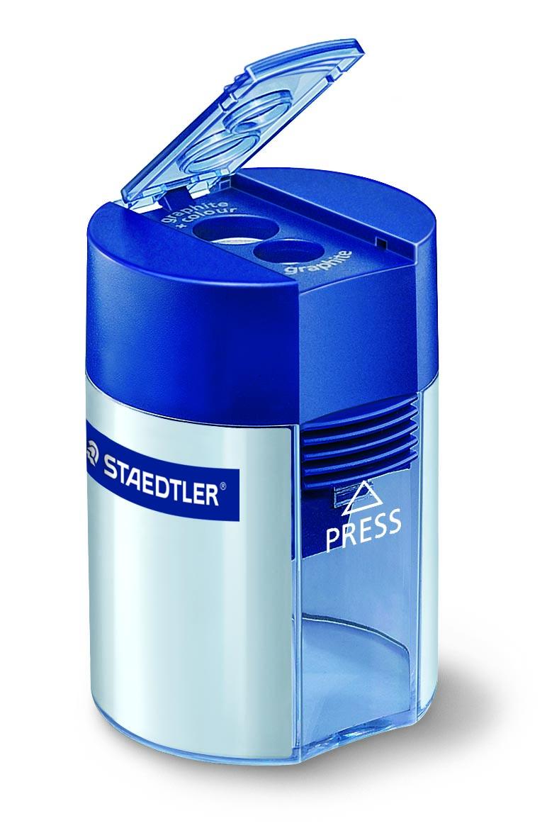 STAEDTLER Blyantspisser m/holder dobbelt hull sølv/blå