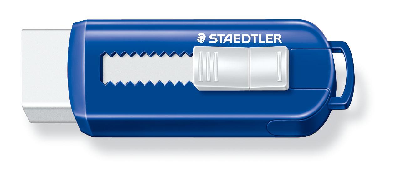 STAEDTLER Viskelær PVC fritt med fremskytings  funksjon Blå/