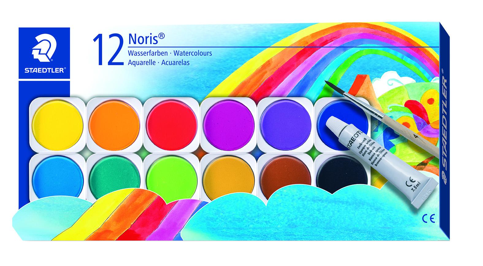 STAEDTLER Maleskrin vannfarger m/pensel 12 assorterte farger