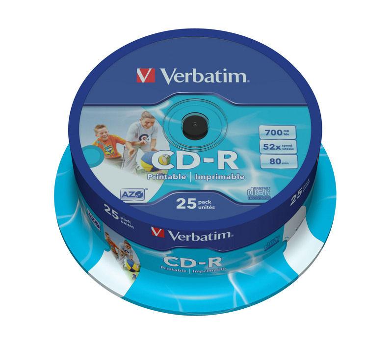 CD-R AZO, 52X Printable spindel (25)