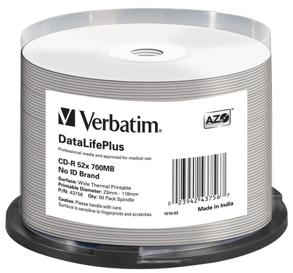 CD-R AZO, 52X, DL + Wide Thermal Printable (50)