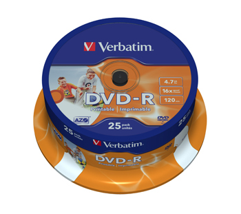 DVD-R 16x 4,7GB printable spindle (25)